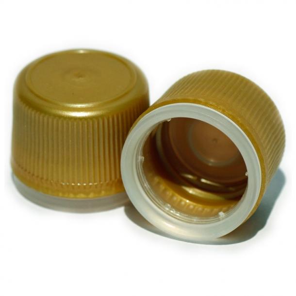 Skruelåg PP24 Guld plast med forsegling